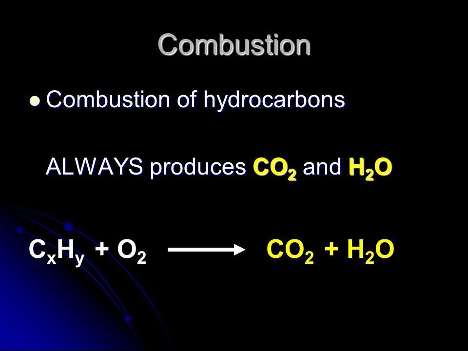 Combustion CxHy + O2 CO2 + H2O Combustion of hydrocarbons