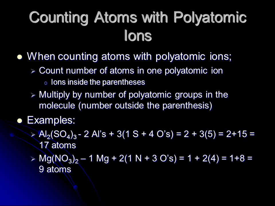 Counting Atoms with Polyatomic Ions