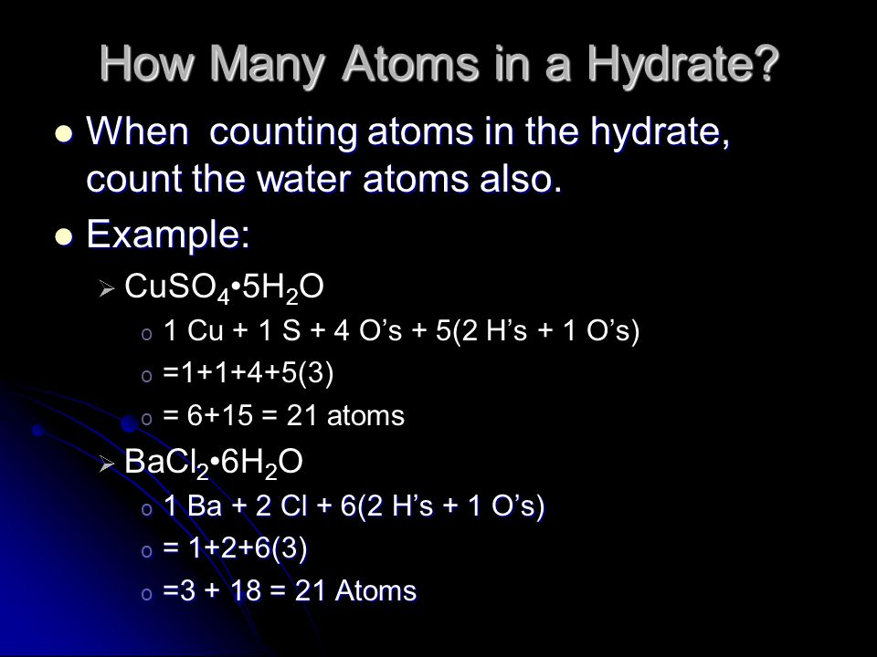 How Many Atoms in a Hydrate