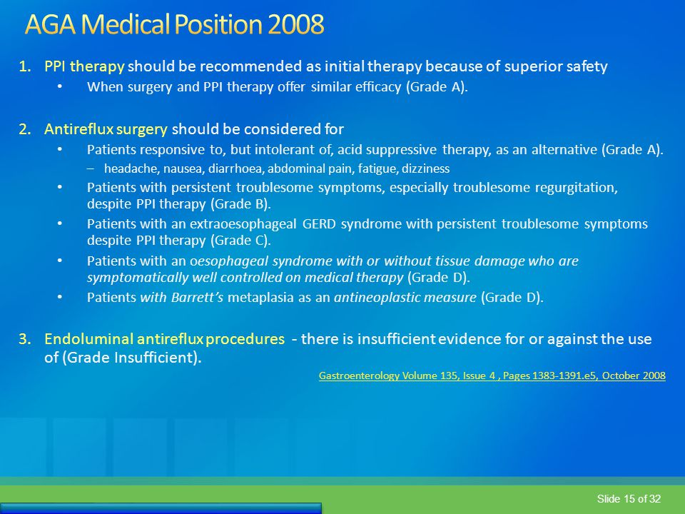 AGA Medical Position 2008 PPI therapy should be recommended as initial therapy because of superior safety.