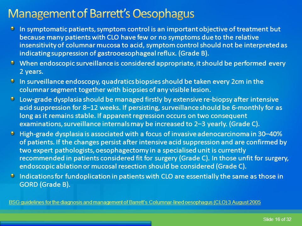 Management of Barrett's Oesophagus