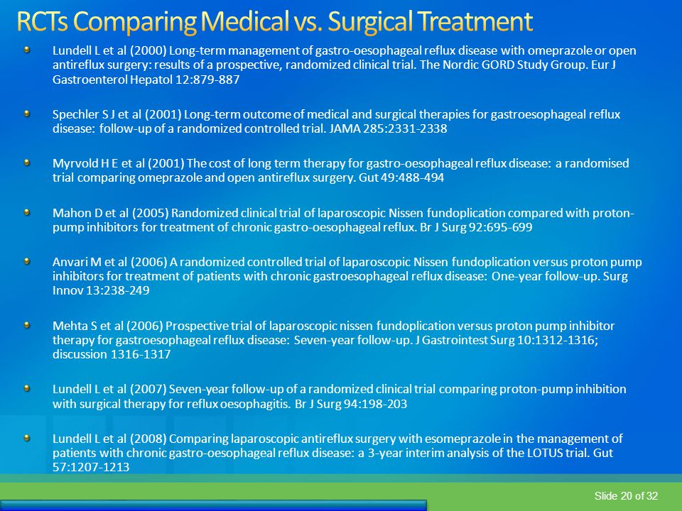 RCTs Comparing Medical vs. Surgical Treatment