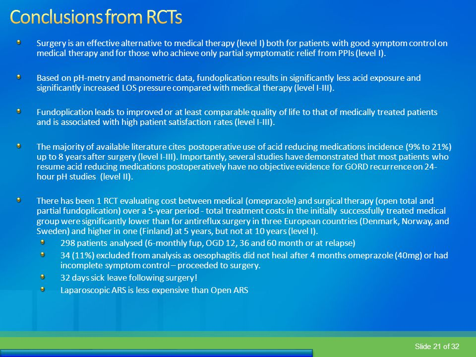 Conclusions from RCTs