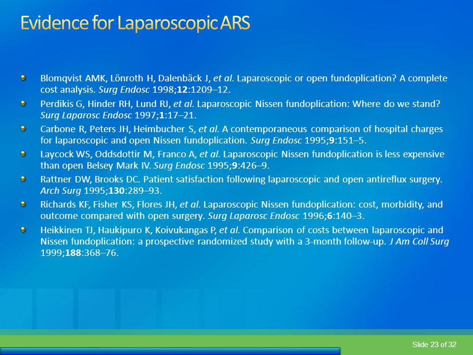 Evidence for Laparoscopic ARS