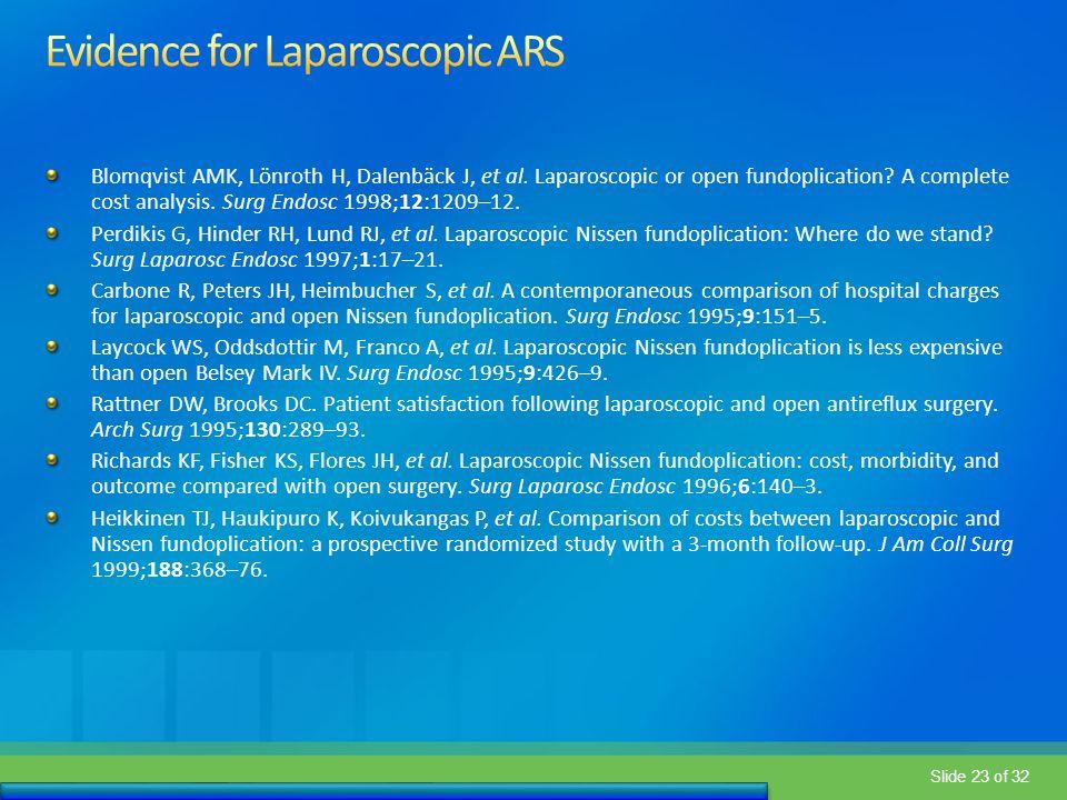 Evidence for Laparoscopic ARS