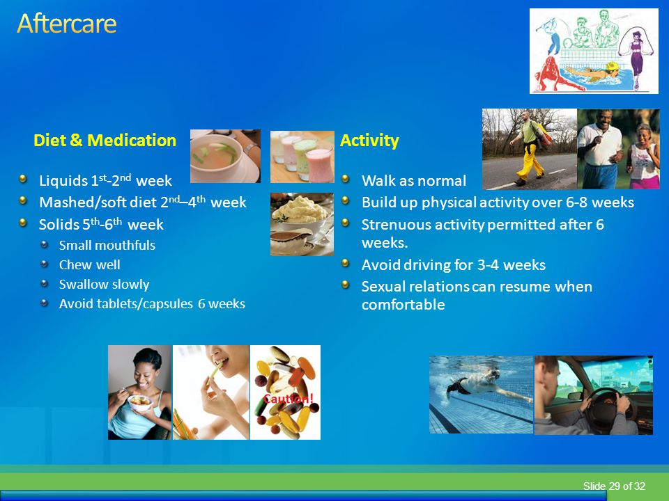 Aftercare Diet & Medication Activity Liquids 1st-2nd week