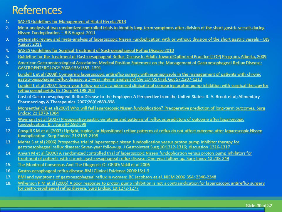 References SAGES Guidelines for Management of Hiatal Hernia 2013