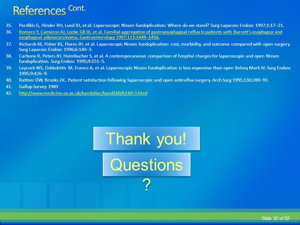 Thank you! Questions References Cont.