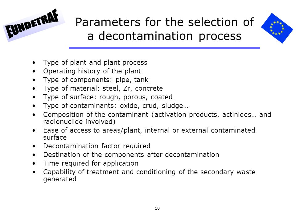 Parameters for the selection of a decontamination process