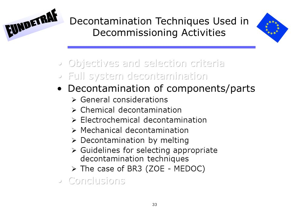 Decontamination Techniques Used in Decommissioning Activities