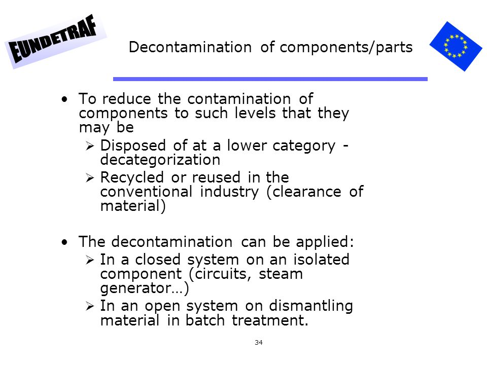 Decontamination of components/parts