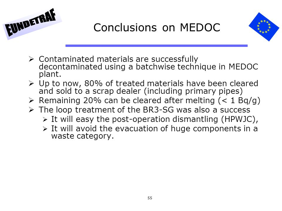 Conclusions on MEDOC Contaminated materials are successfully decontaminated using a batchwise technique in MEDOC plant.