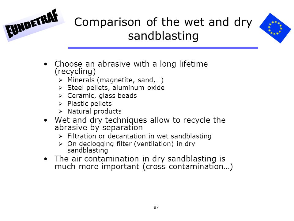 Comparison of the wet and dry sandblasting