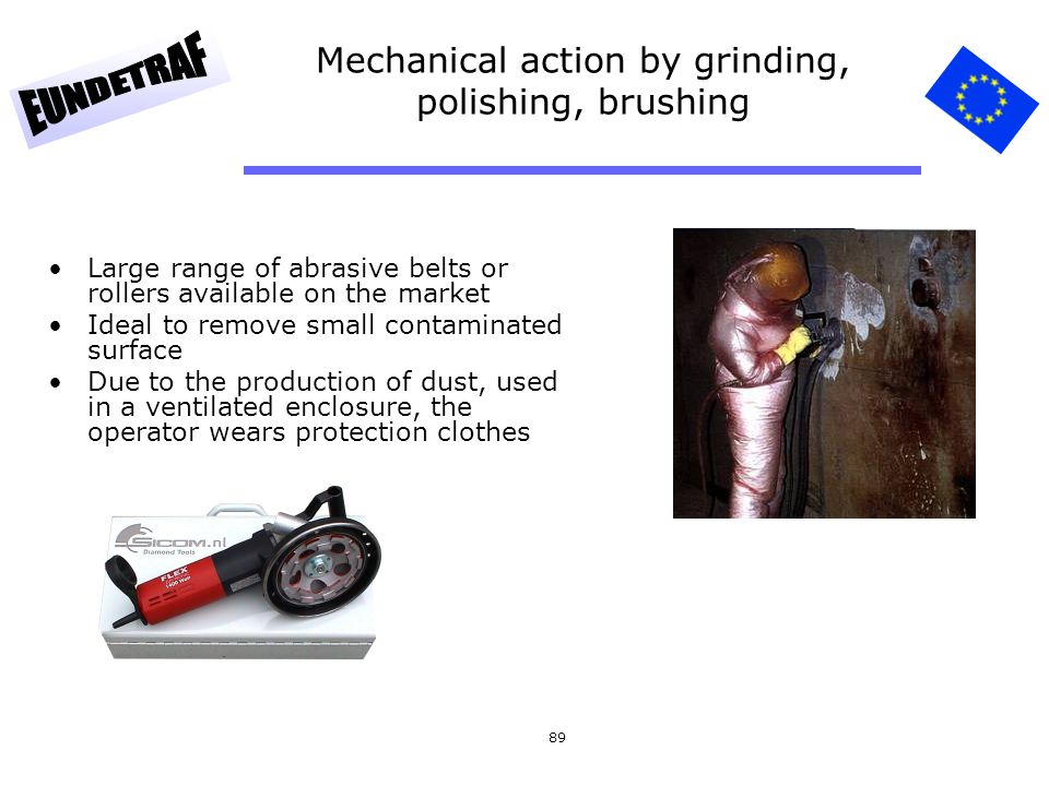 Mechanical action by grinding, polishing, brushing