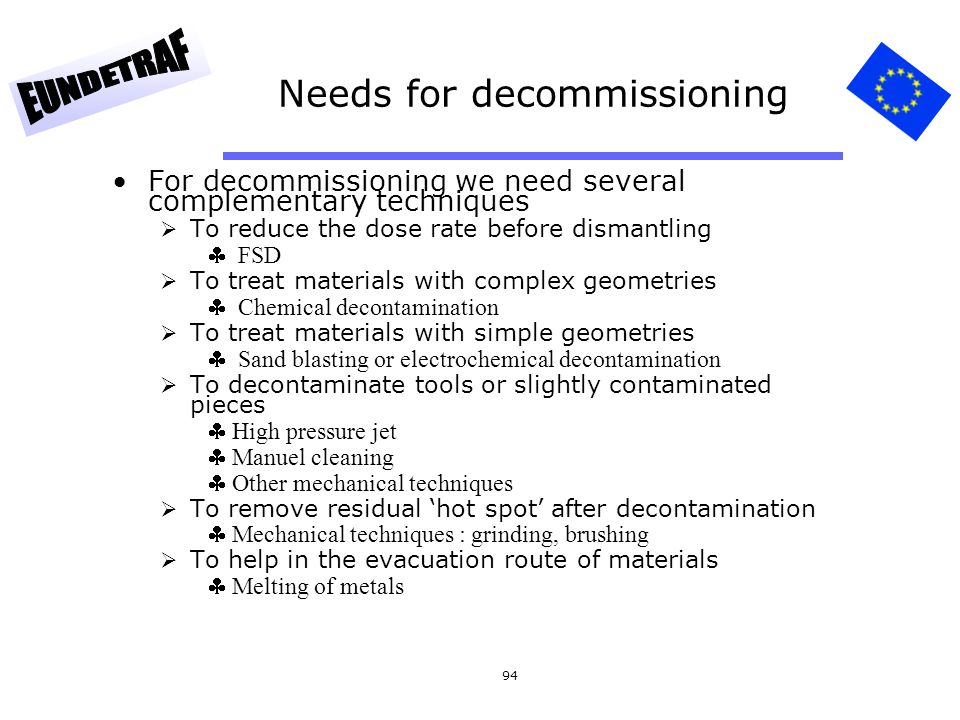 Needs for decommissioning