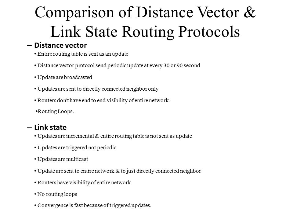 Comparison of Distance Vector & Link State Routing Protocols
