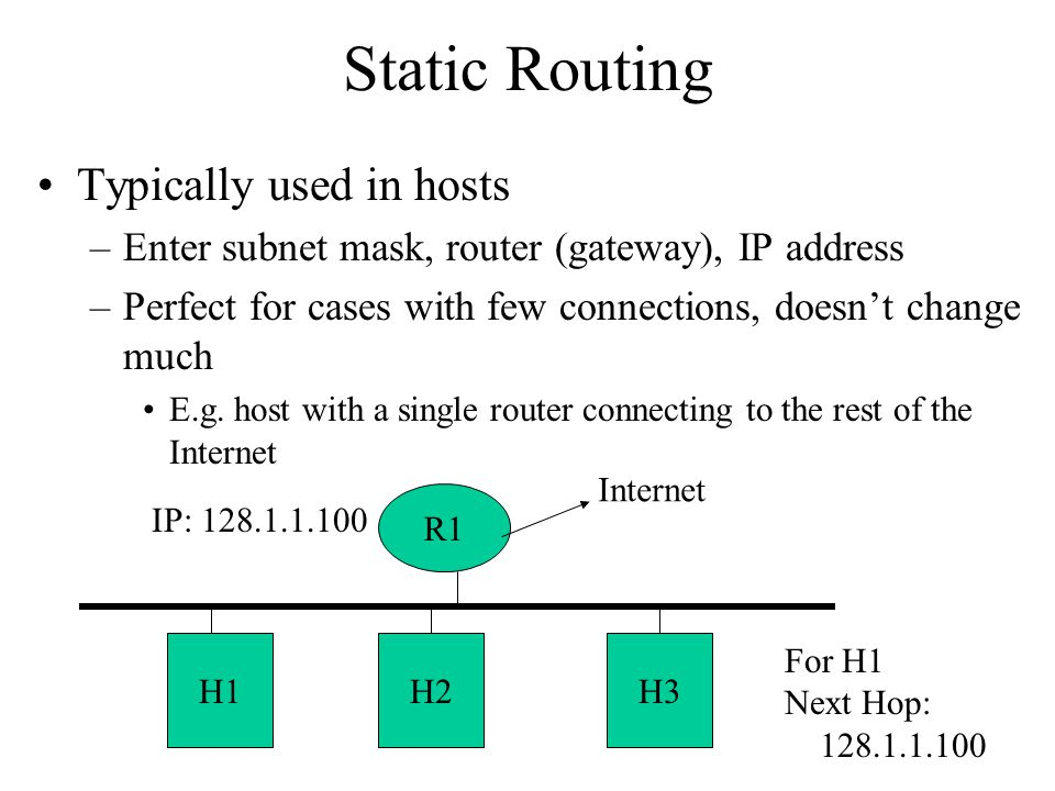 Static Routing Typically used in hosts