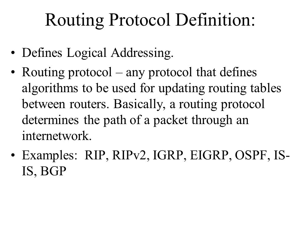 Routing Protocol Definition:
