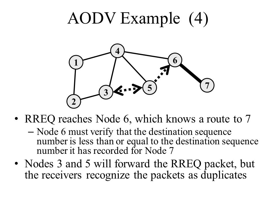 AODV Example (4) RREQ reaches Node 6, which knows a route to 7