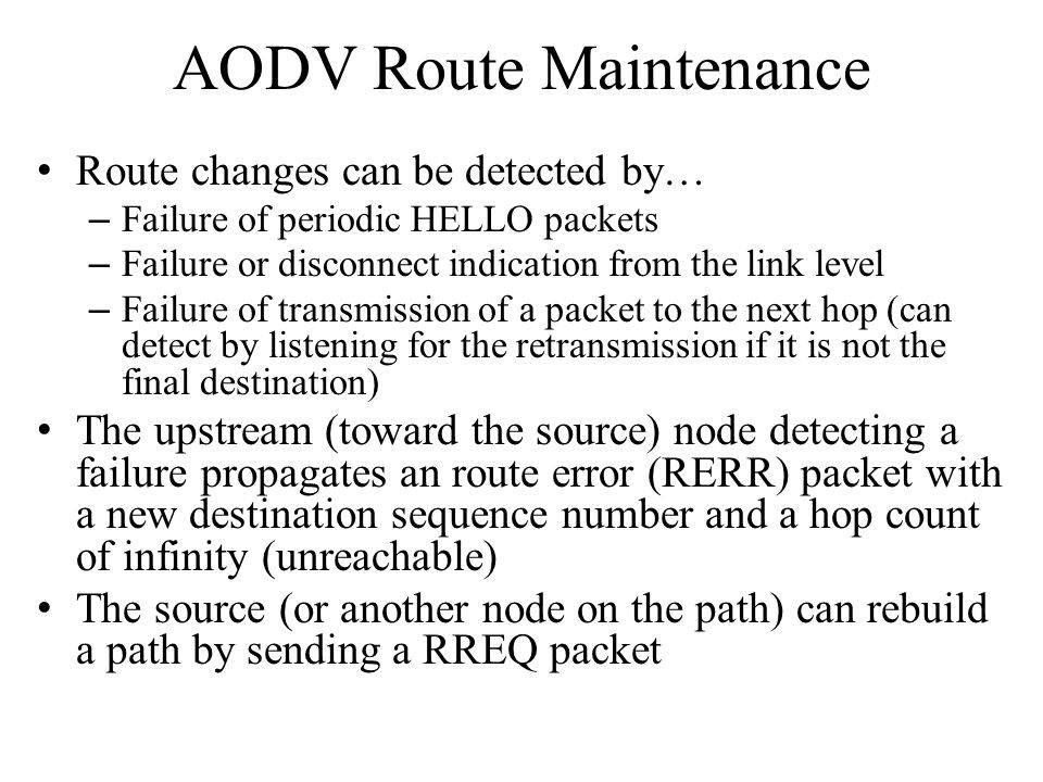 AODV Route Maintenance