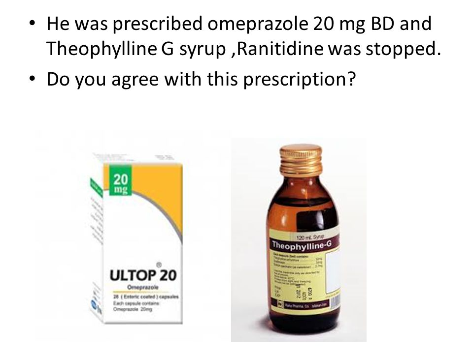 He was prescribed omeprazole 20 mg BD and Theophylline G syrup ,Ranitidine was stopped.