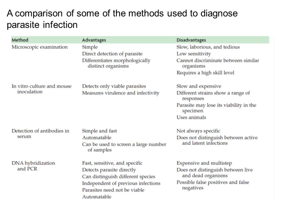 A comparison of some of the methods used to diagnose parasite infection