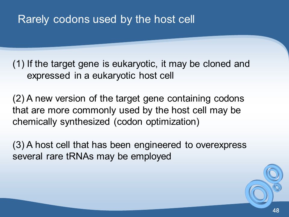 Rarely codons used by the host cell