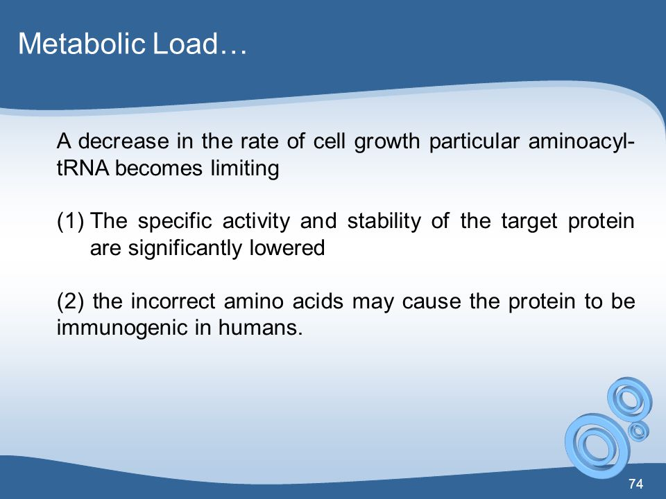 Metabolic Load… A decrease in the rate of cell growth particular aminoacyl-tRNA becomes limiting.