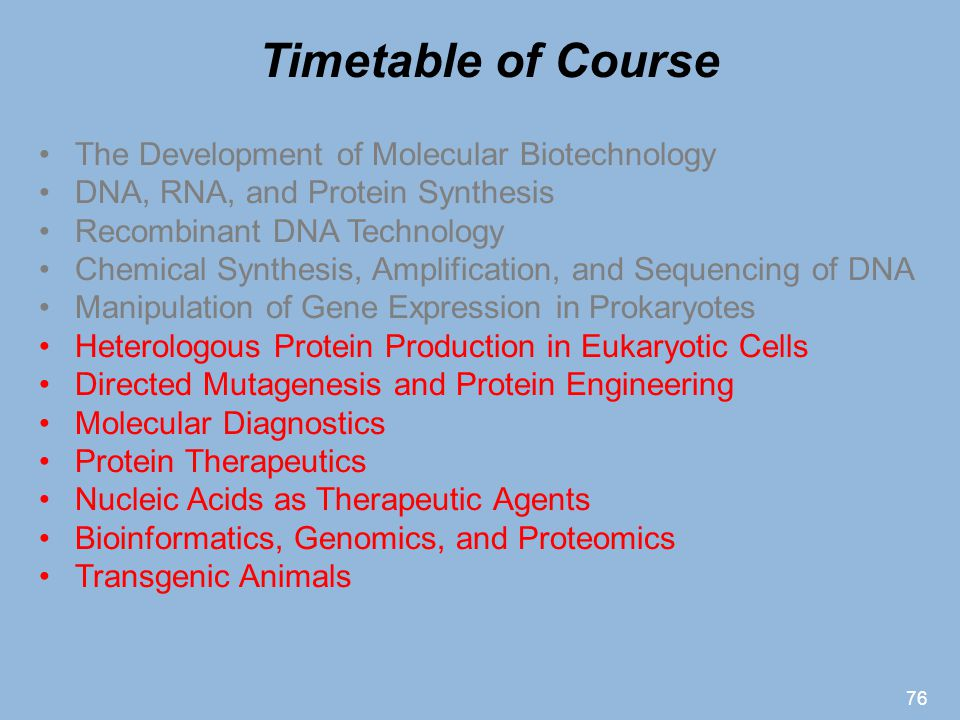 Timetable of Course The Development of Molecular Biotechnology