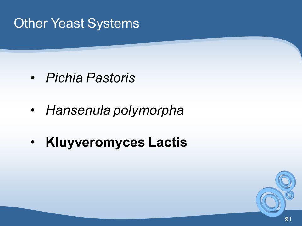 Other Yeast Systems Pichia Pastoris Hansenula polymorpha Kluyveromyces Lactis