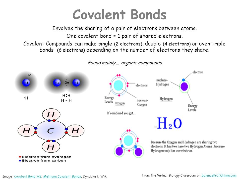 Covalent Bonds Involves the sharing of a pair of electrons between atoms. One covalent bond = 1 pair of shared electrons.