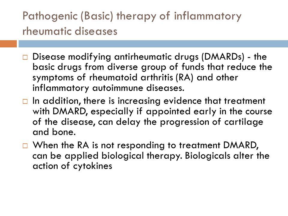 Pathogenic (Basic) therapy of inflammatory rheumatic diseases