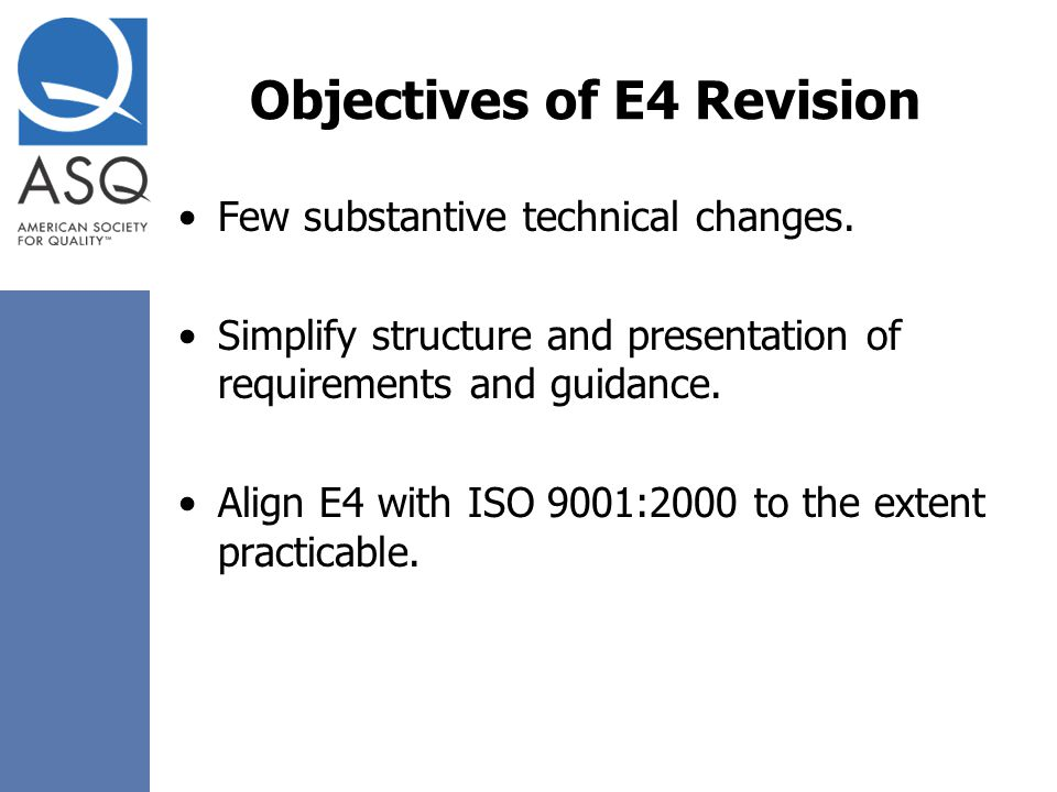 Objectives of E4 Revision