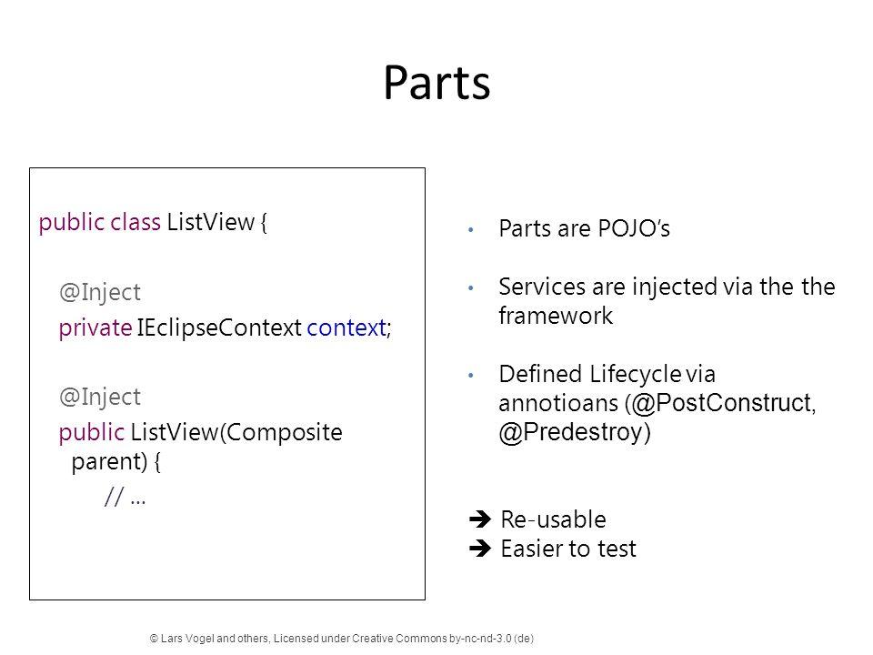 Parts public class ListView { @Inject private IEclipseContext context; public ListView(Composite parent) { // ...