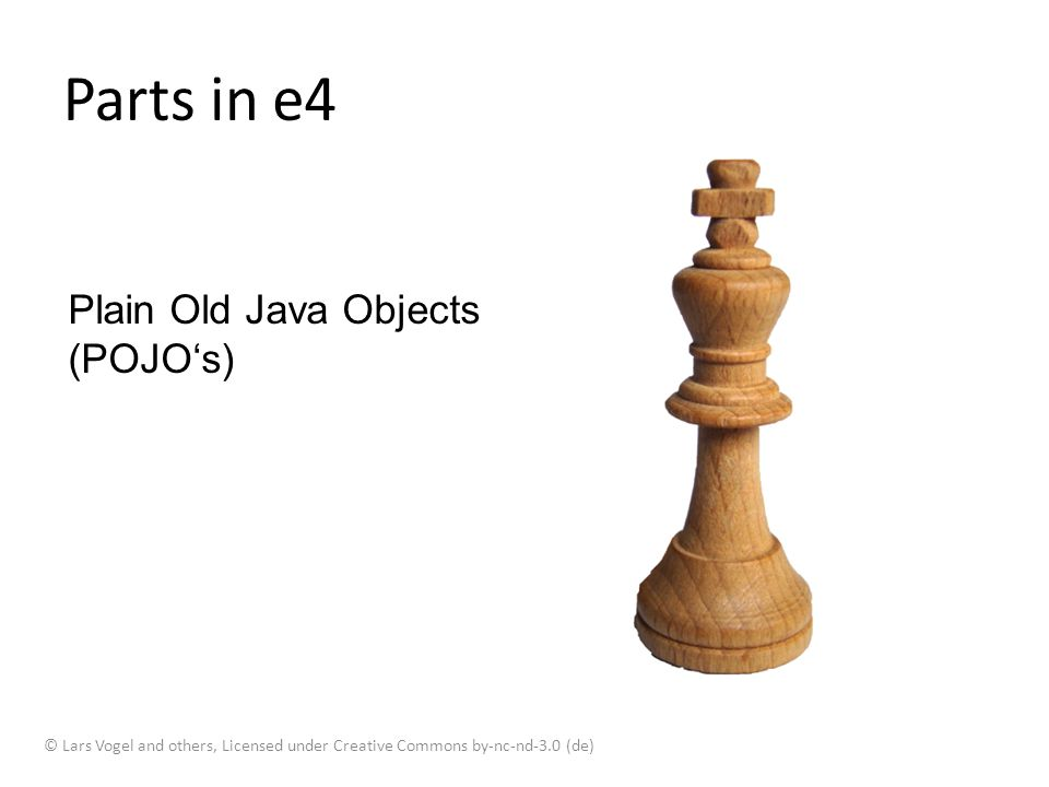 Parts in e4 Plain Old Java Objects (POJO's)