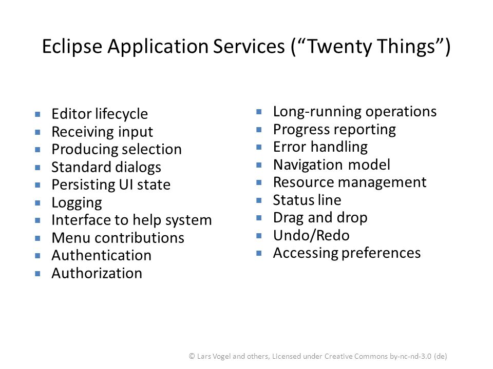 Eclipse Application Services ( Twenty Things )