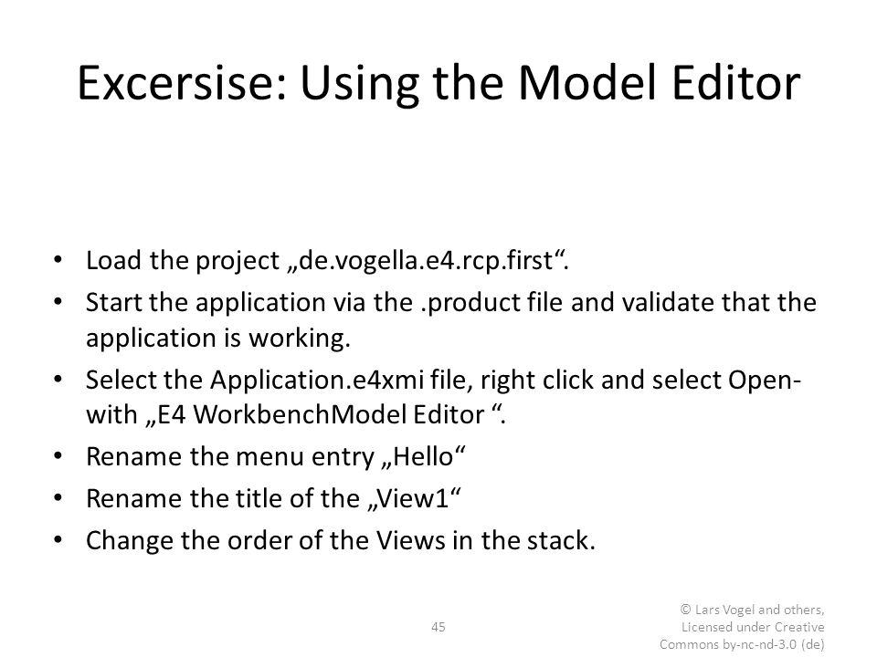 Excersise: Using the Model Editor