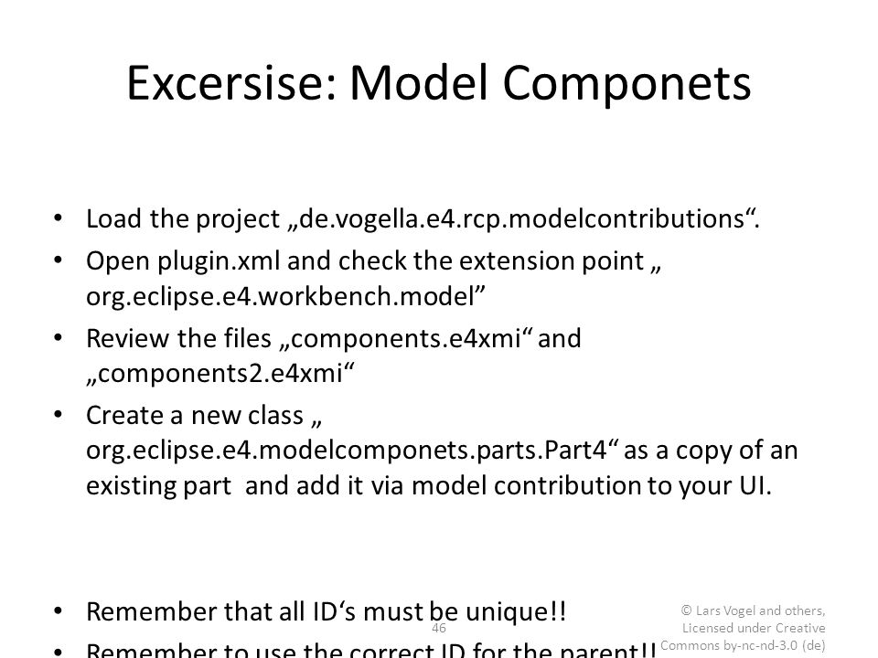 Excersise: Model Componets