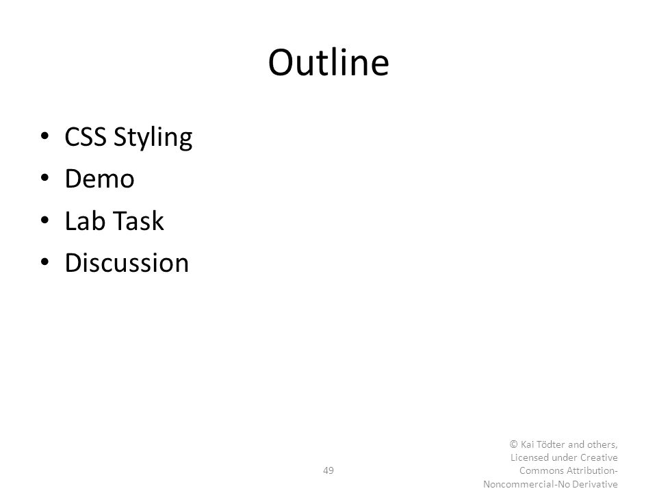 Outline CSS Styling Demo Lab Task Discussion