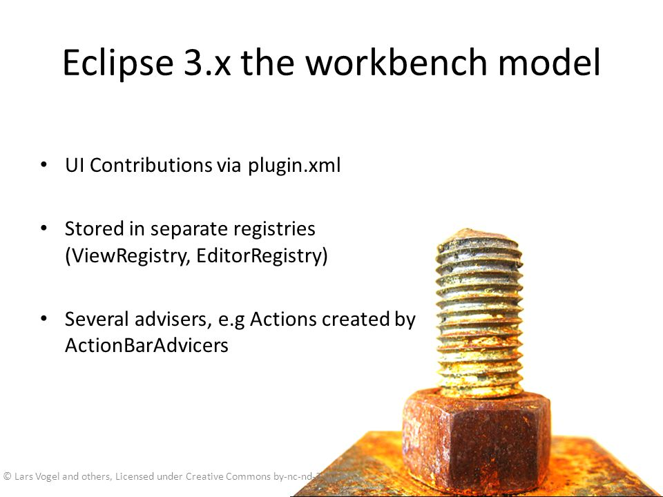 Eclipse 3.x the workbench model
