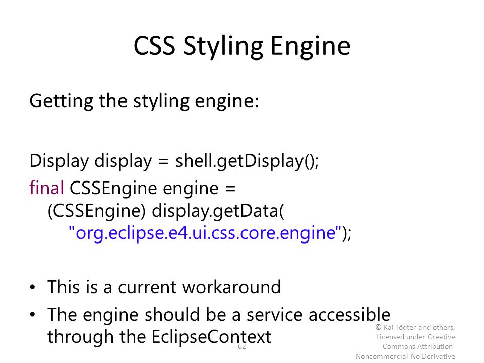 CSS Styling Engine Getting the styling engine: