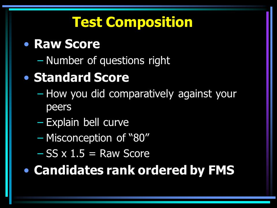 Test Composition Raw Score Standard Score