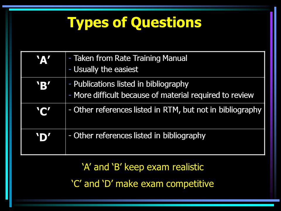 Types of Questions 'A' 'B' 'C' 'D' 'A' and 'B' keep exam realistic