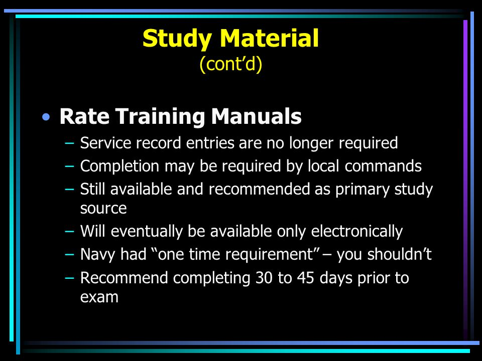 Study Material (cont'd)