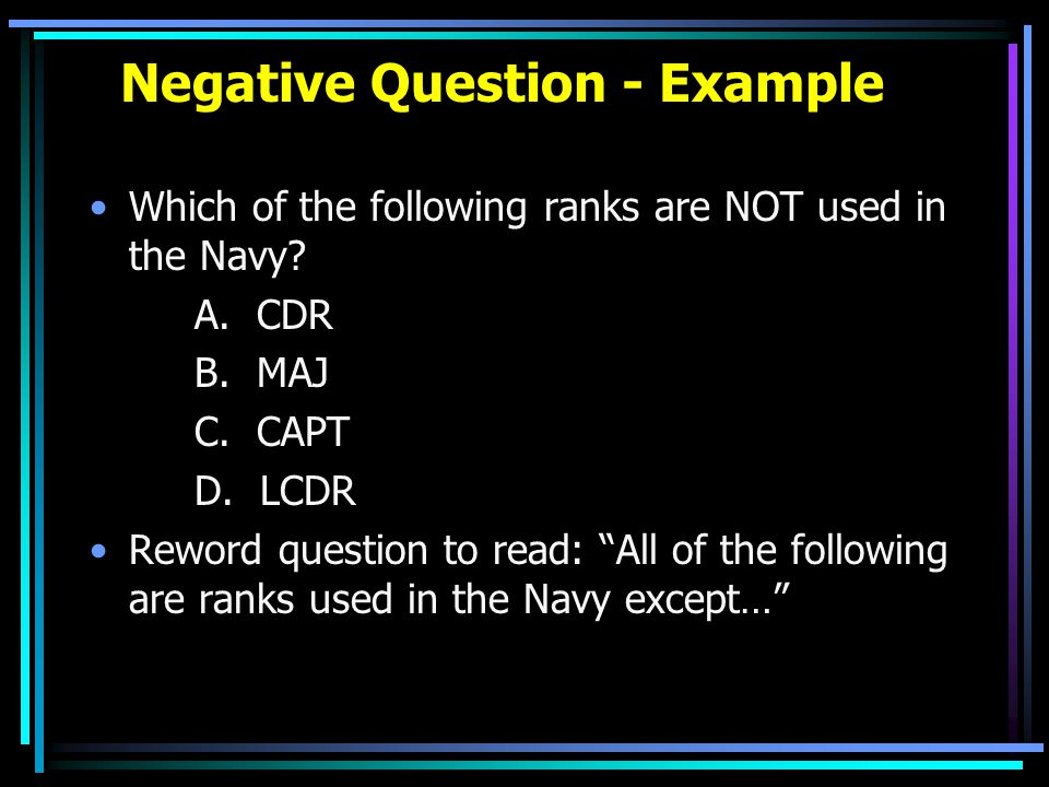 Negative Question - Example