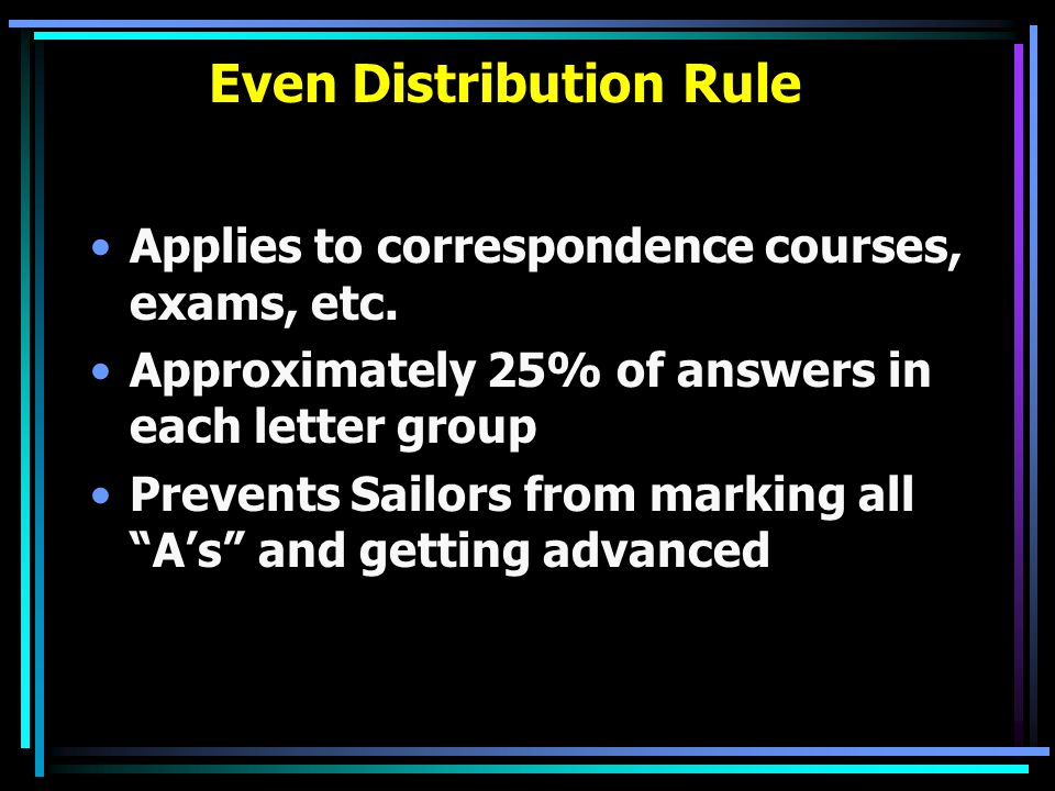 Even Distribution Rule