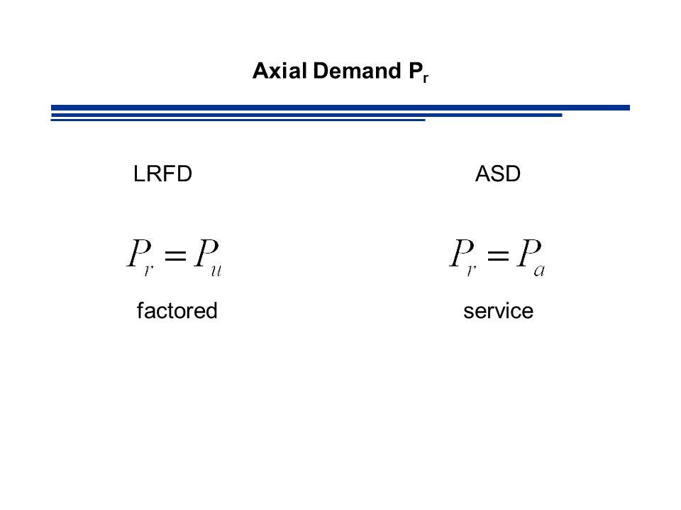 Axial Demand Pr LRFD ASD factored service