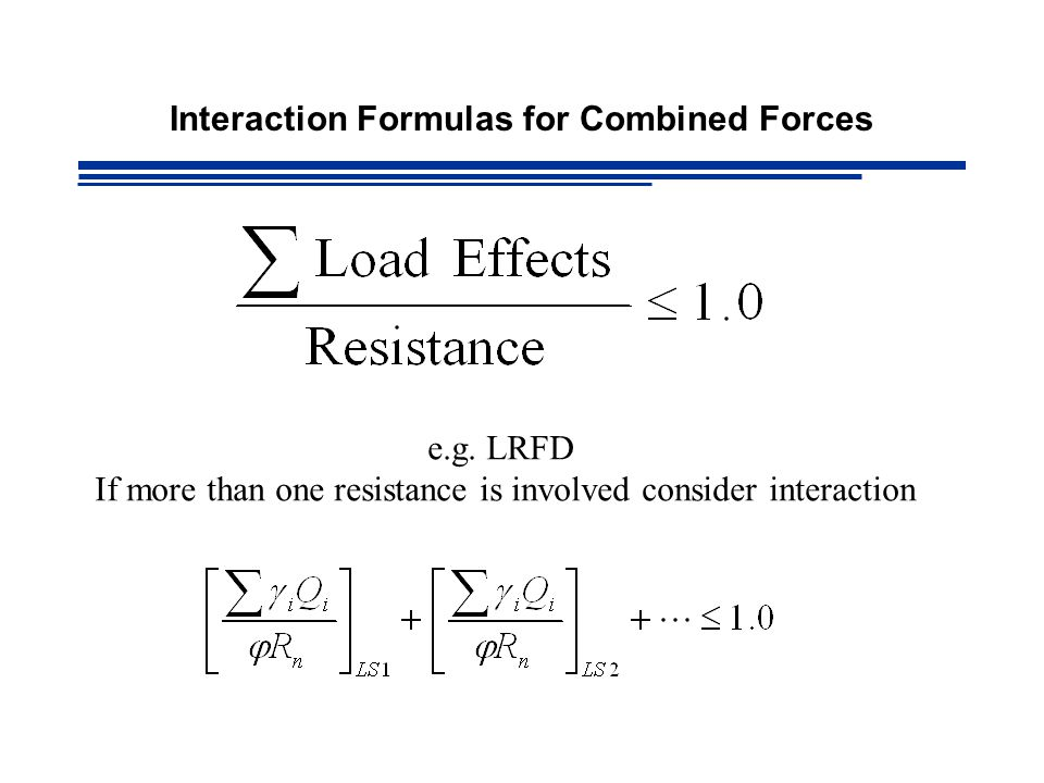 Interaction Formulas for Combined Forces