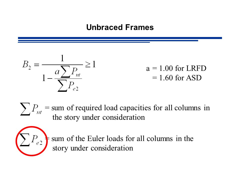 Unbraced Frames a = 1.00 for LRFD. = 1.60 for ASD. = sum of required load capacities for all columns in the story under consideration.
