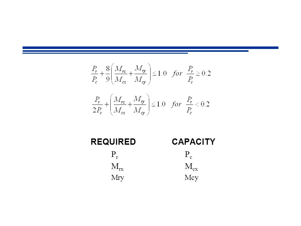 REQUIRED CAPACITY Pr Pc Mrx Mcx Mry Mcy